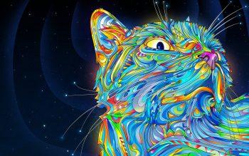 طرح انتزاعی با کیفیت رنگارن به شکل گربه