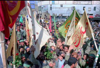 تشییع شهدا با پرچم های یا حسین