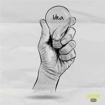 لامپ در دست