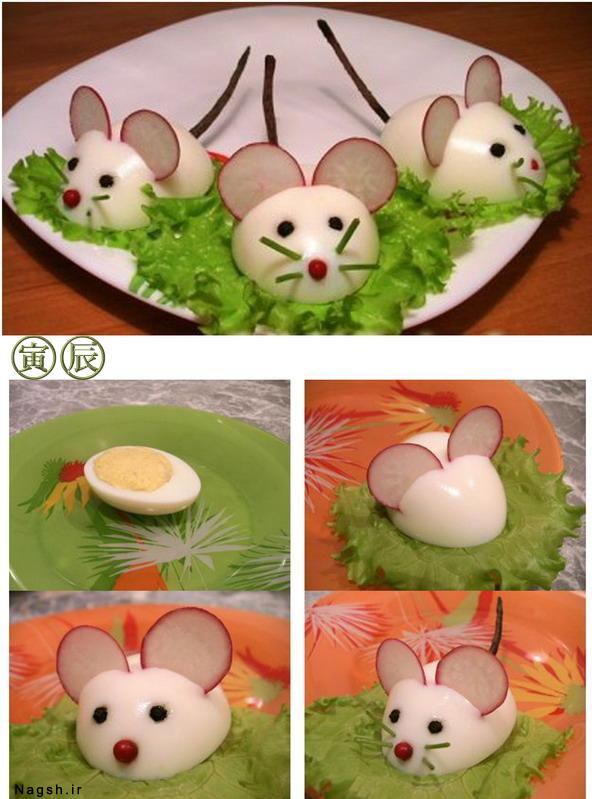 مجسمه موش با تخم مرغ