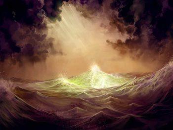 موج دریا و طلوع آفتاب