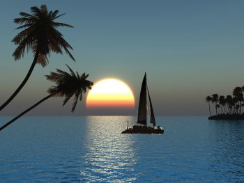 قایق سواری در غروب دریا