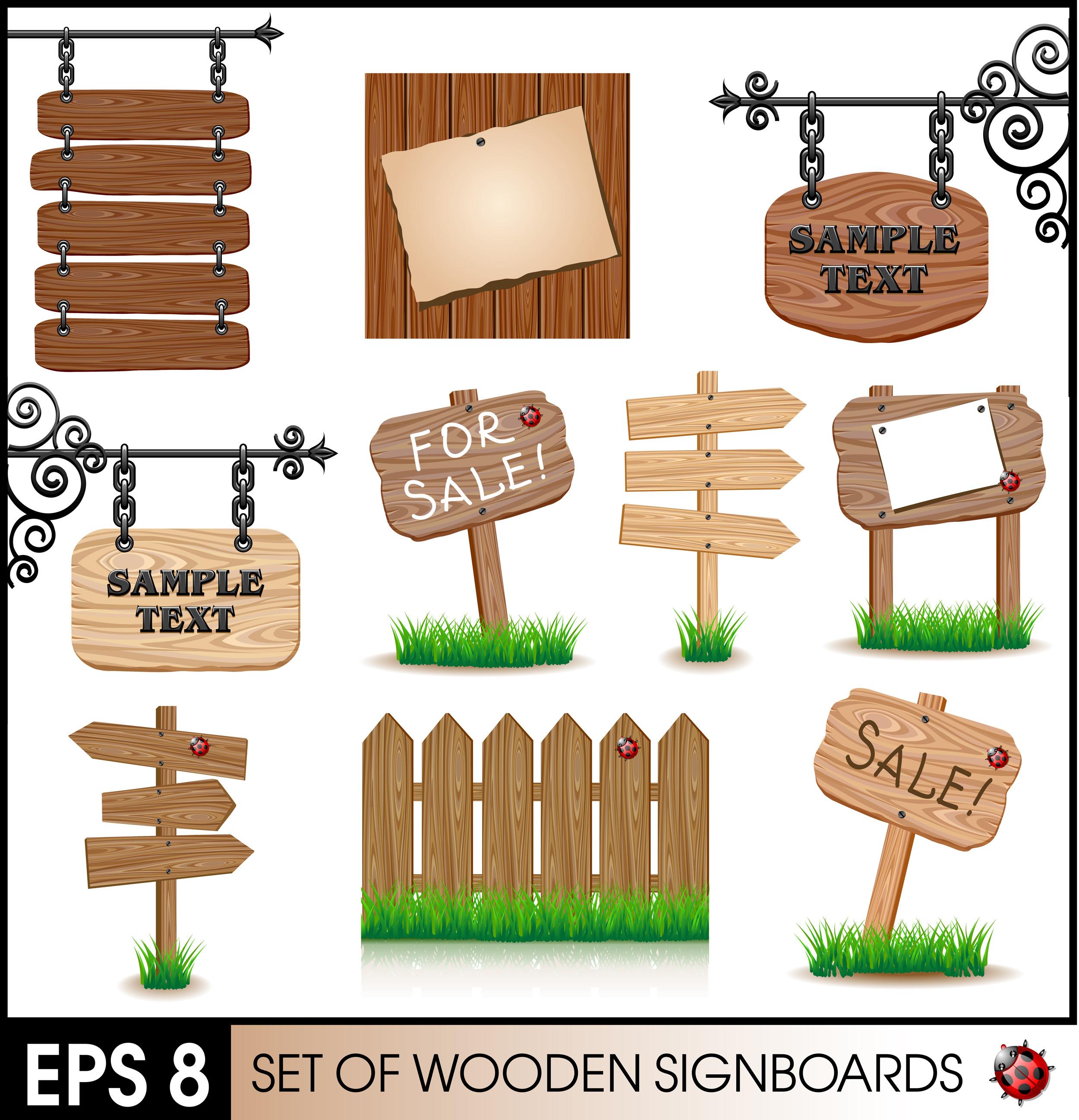 علامت های چوبی سر جاده ها
